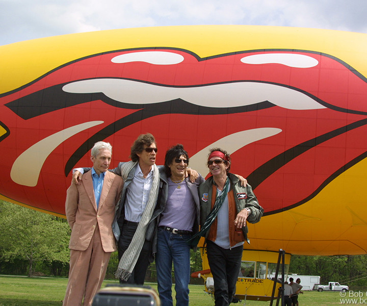 May 7 - NYC - The Rolling Stones landed in New York to announce a new world tour. Flying in on a blimp with the Stones logo painted on it, they said they were looking forward to playing three types of shows: in stadiums, arenas and clubs. They all looked in fine form, except Charlie, who looked a little airsick from the blimp ride.