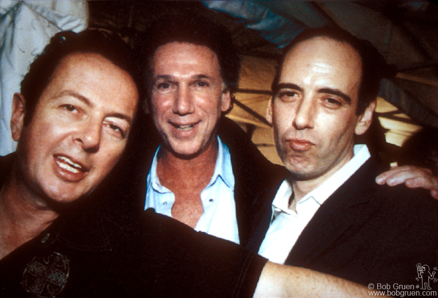 Sept 26 - London - It was a smashing success, with over 1000 people, including Joe Strummer and Mick Jones, seen above at the party with me. Photo by Linda Rowe.