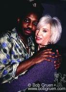 Steve Jordan backstage with his wife, Meegan Voss.