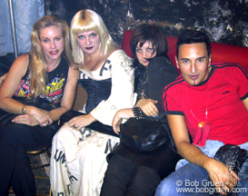Downstairs Cherie Currie waits to go on with the fabulous Chi Chi Valenti, designer Kitty Boots and DJ Johnny Dynell.