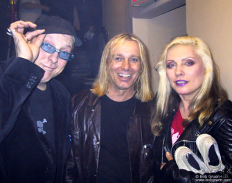 "May 19 - Rick Nielsen and Robin Zander of Cheap Trick say ""Hi"" to eternally beautiful Debbie Harry of Blondie backstage at Joey's Birthday party."