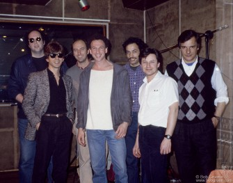 Jeff Gordon, Joe Dalia, an ArtSounds engineer, Bob Gruen Tony Garnier, Brian Koonin & Tony Machine, NYC - 1985