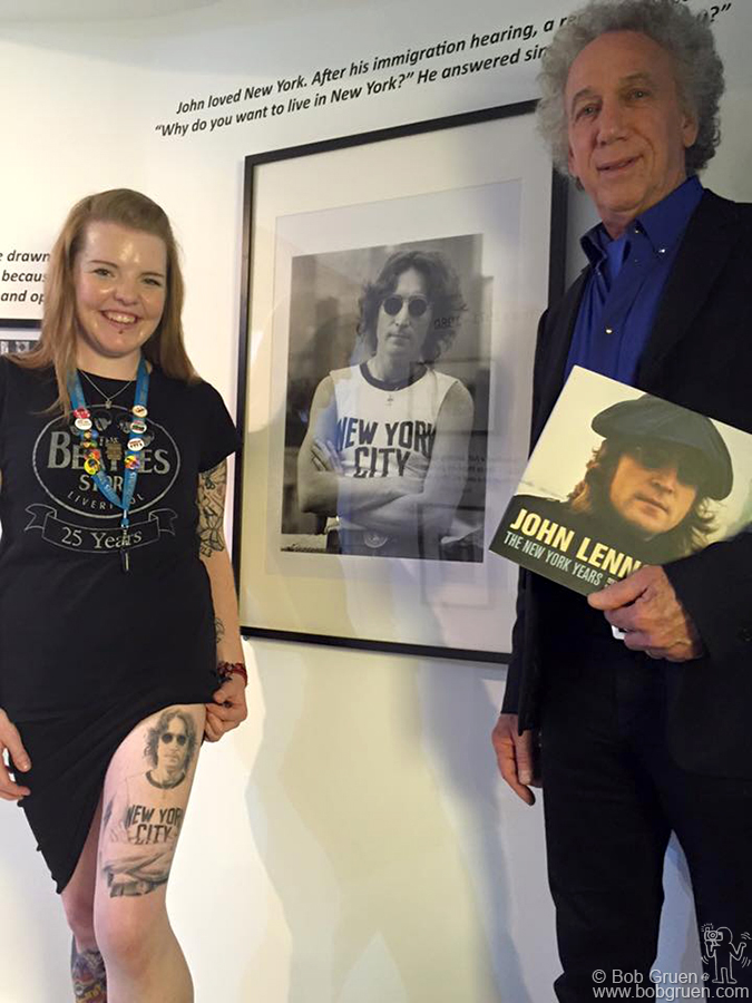"Aug 27 – Liverpool, England – Lynda-Louise Tomlinson showed me her great tattoo of my photo of John at the opening of the exhibit at the Beatles Story Museum. I also debuted the new edition of my book, ""John Lennon – the New York Years"", with 16 new pages of previously unseen photos."