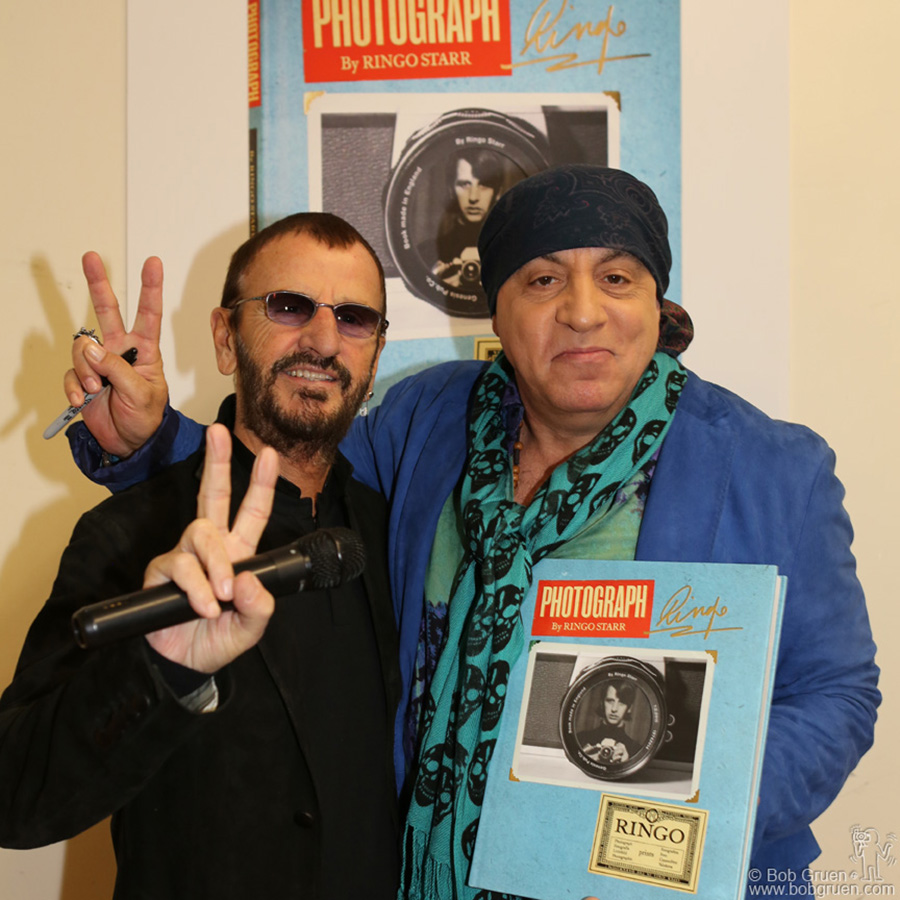 "Oct 26 – NYC – Ringo Starr was interviewed by Little Steven Van Zandt during the ""Photograph"" book release event at The Strand bookstore."