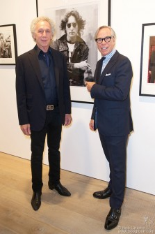 "Sept 21 - Bob Gruen and Tommy Hilfiger during the opening of the ""Rock/Style"" exhibit at Sotheby's S/2 Gallery in London, England."