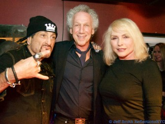 Handsome Dick Manitoba, Bob Gruen and Debbie Harry during Bob's 70th birthday party at Berlin.