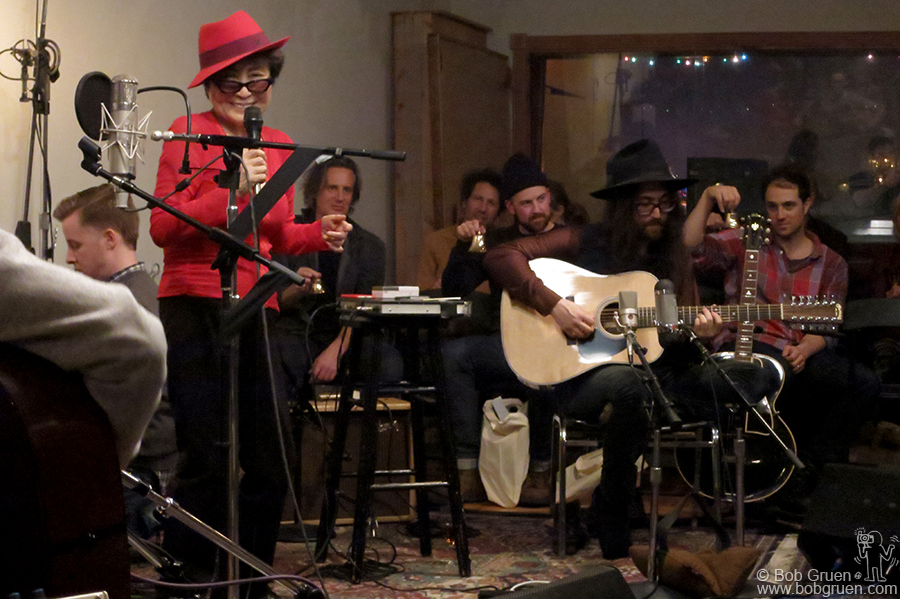 Feb 18 – NYC - Yoko Ono & Sean Lennon celebrating Yoko's 82nd birthday party at Sear Sound, NYC.