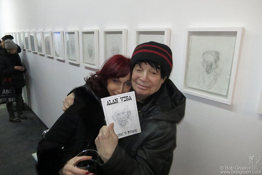 Feb 20 – NYC - Liz Lamarie & Alan Vega during Alan's art opening at Invisible-Exports, NYC.