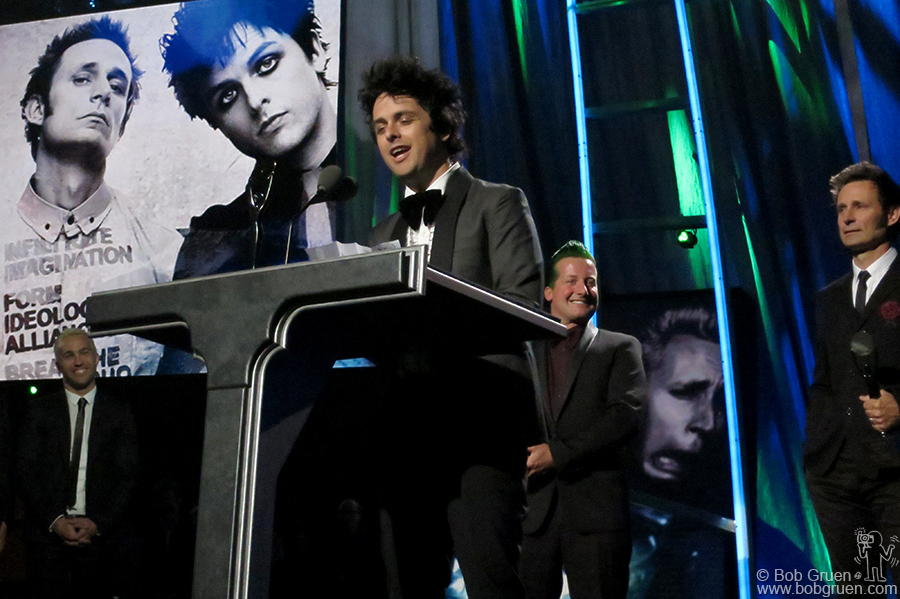 April 18 – Cleveland - Green Day on stage at the Rock & Roll Hall of Fame Induction Ceremony in Cleveland, OH.