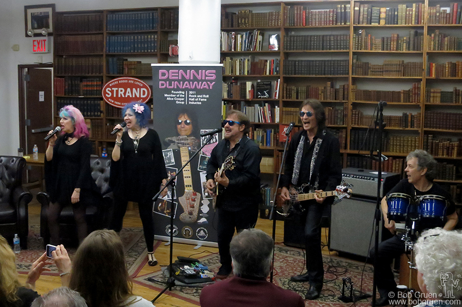 "June 9 – NYC – Dennis Dunaway with Snooky & Tish Bellomo playing at the signing event for his new book ""Snakes! Guillotines! Electric Chairs!: My Adventures in The Alice Cooper Group""  at The Strand book store."