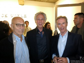 "John Dunbar, Bob Gruen & Gerard Mankowitz during the ""Rock/Style"" Exhibit opening at Sotheby's S/2 Gallery in London, England."
