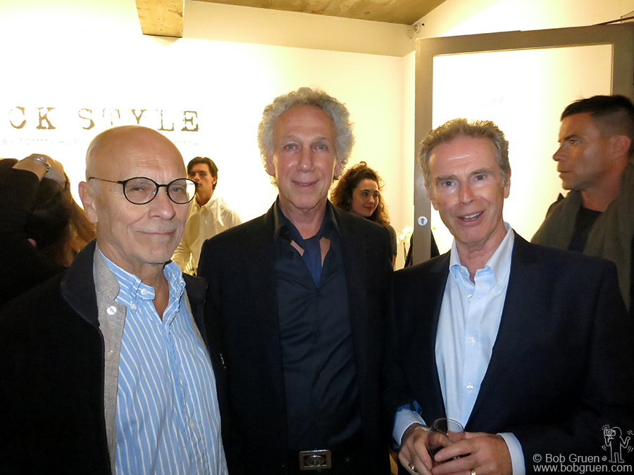 "Sept 21 – London, England – John Dunbar (the man who said ""John, I'd like you to meet Yoko"") and photographer Gerard Mankowitz with me during the opening at Sotheby's S/2 Gallery."