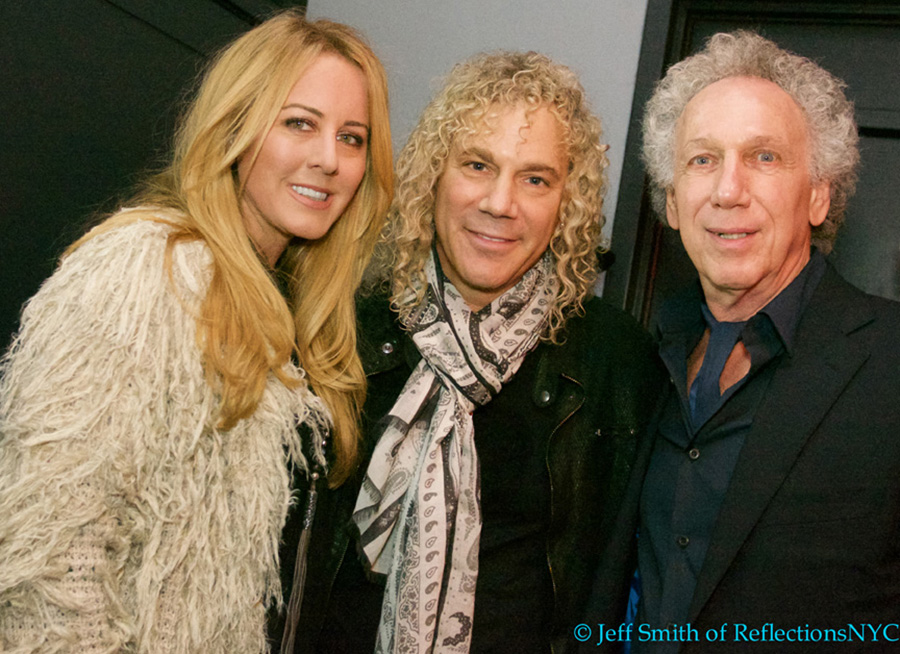 Lexi and David Bryan with Bob Gruen during Bob's 70th birthday party at Berlin. Photo by Jeff Smith.