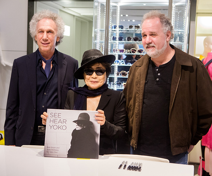 "April 28 – NYC - With Yoko Ono & Jody Denberg at the signing of our new book ""See, Hear, Yoko"" at the BookMarc Store, NYC. Photo by David Appel Photo."