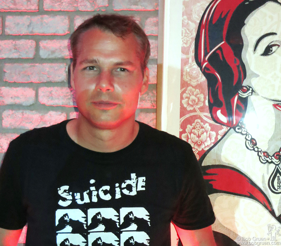 Sept 17 - NYC - Shepard Fairey exhibited a new edition of prints at the Jacob Lewis Gallery and then had his after party at the Dream Hotel where I took this photo of him.