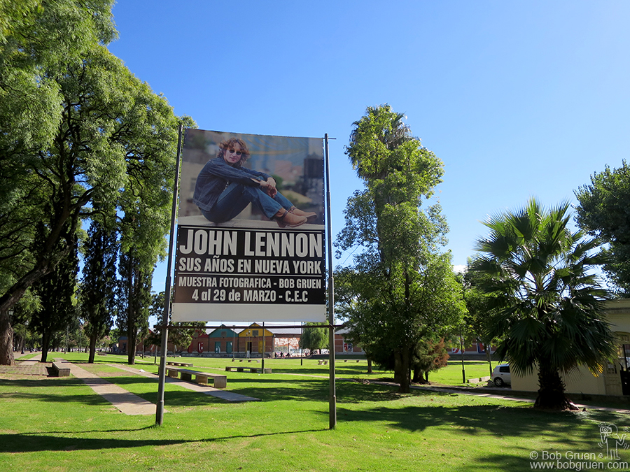 "March 26 – Argentina - Billboard for Bob Gruen's ""John Lennon: The New York Years"" exhibition at the Centro de Expresiones Contemporaneas in Santa Fe, Argentina."