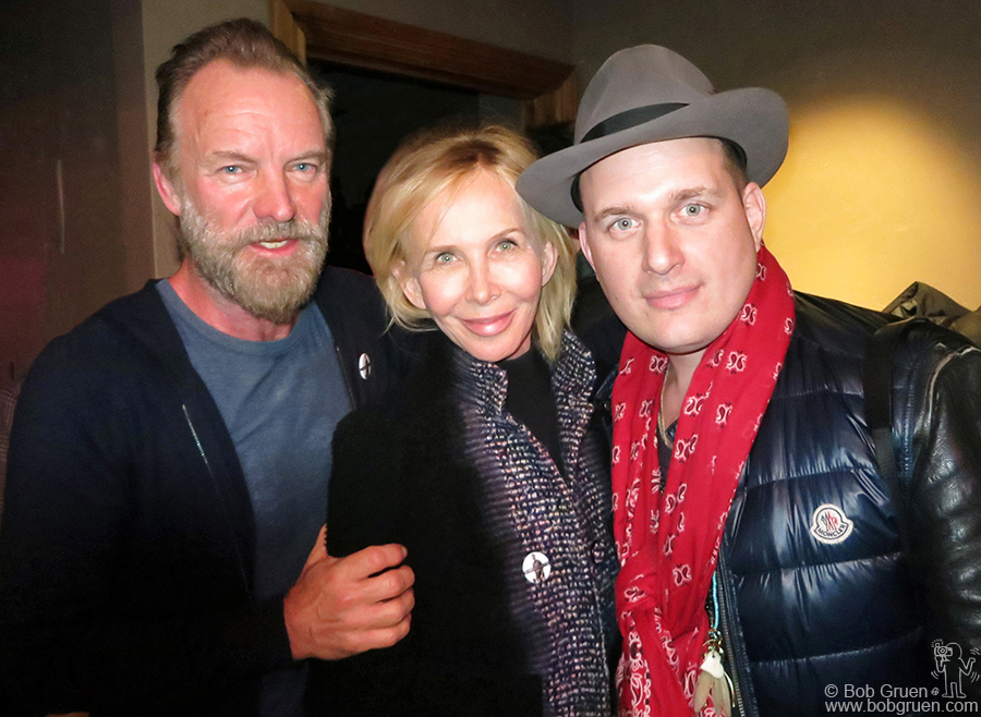 "Jan 23 - Park City, UT - Sting, his wife Trudy and J. Ralph backstage at the ASCAP Lounge. Sting and J. Ralph wrote the theme song for the film ""Jim: the James Foley Story""."