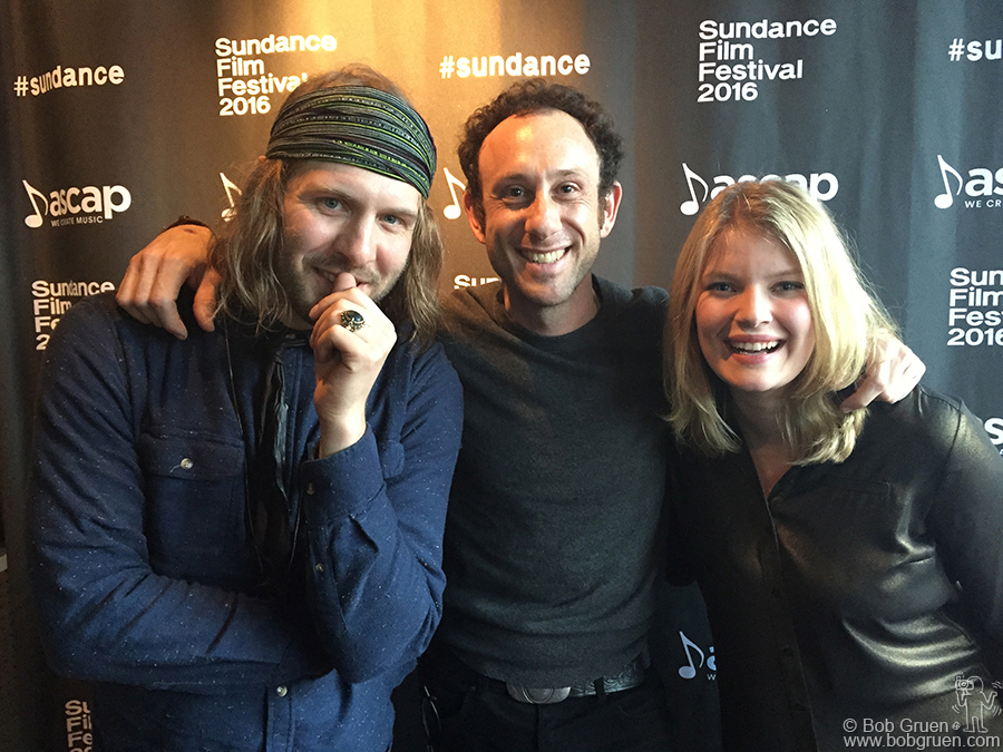 Jan 25 - Park City, UT - Daniel Blue of Motopony, Kris Gruen and singer Peppina, who all record for Motherwest Records, during the Sundance Film Festival after their shows at ASCAP.