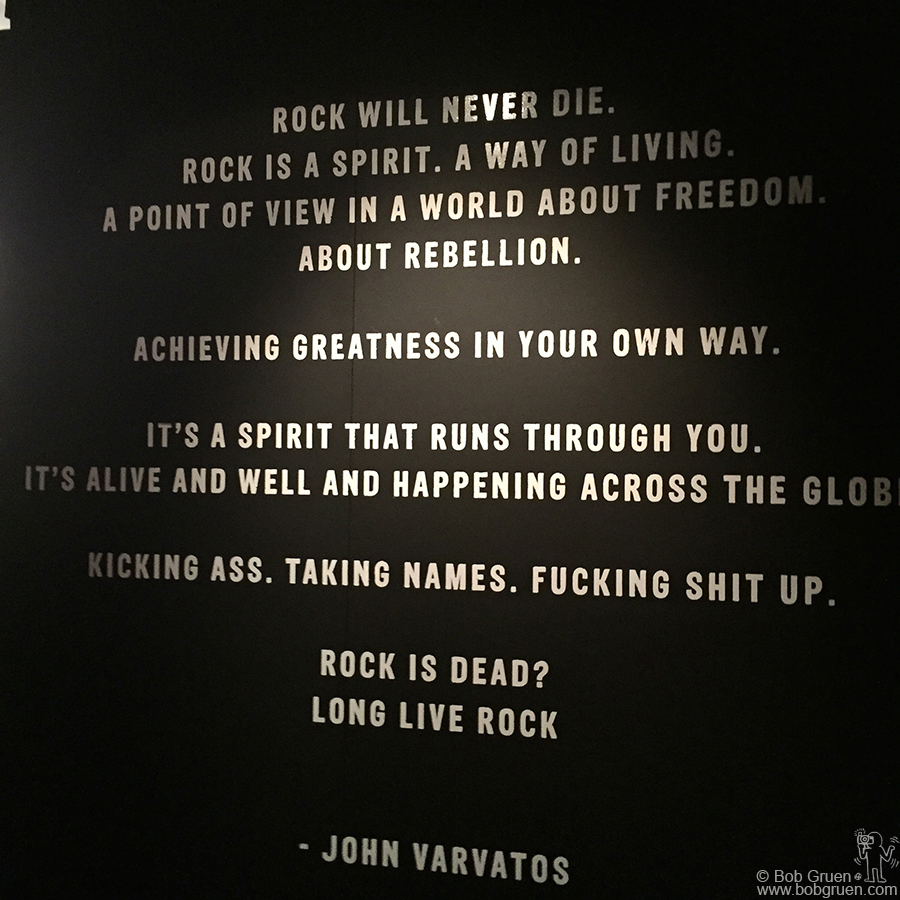 Feb 2 - NYC - John Varvatos quote on display during a very unusual John Varvatos fashion show at his store on the Bowery (the site of the former CBGB).