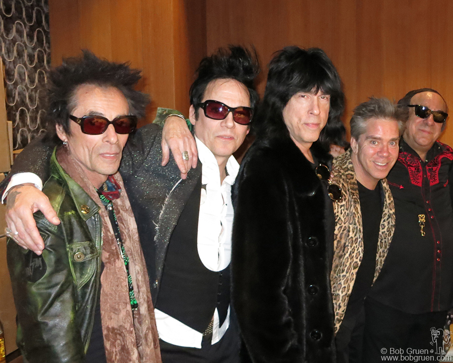 Feb 12 - NYC - Marky Ramone came to say hello to Earl Slick, Michael H, Andy Hilfiger and Arno Hecht during their David Bowie tribute concert at the Electric Room.