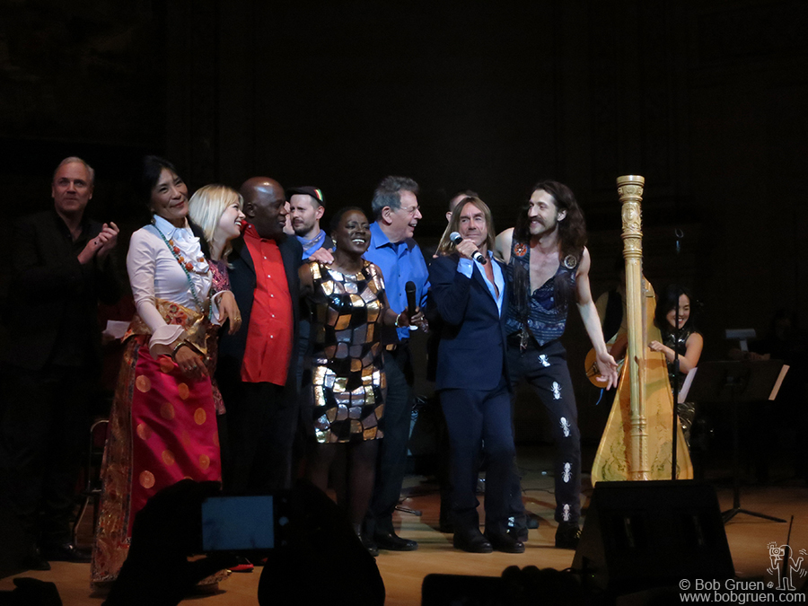 Feb 22 - NYC - Dechen Shak-Dagsay, Basia Bulat, Foday Musa Suso, Sharon Jones, Philip Glass and Eugene Hutz of Gogol Bordello join Iggy Pop to sing David Bowie's 'Tonight' for the finale of the Tibet House Benefit Concert at Carnegie Hall.