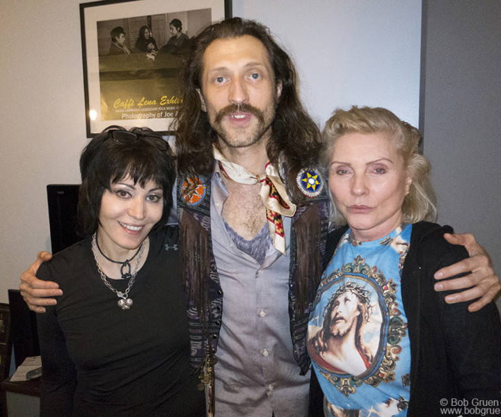 Feb 24 - NYC - Lucky  Eugene Hutz of Gogol Bordello got to hug both Joan Jett, and Debbie Harry when he stopped by Magic Shop Studios where Blondie was finishing a new album featuring Joan singing backup on one track.