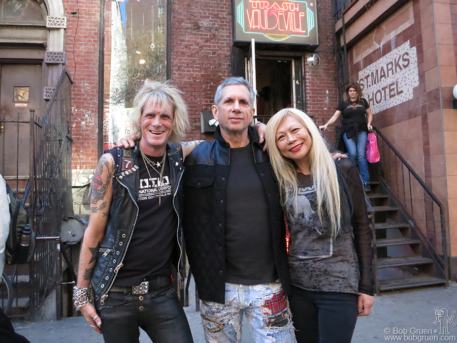 Feb 28 - NYC - Trash & Vaudeville manager Jimmy Webb with owners Ray and Daang Goodman out front during the store's final day on St. Marks Place. They are not closing like so many other stores in the neighborhood .... you will still be able to get their great selection of Rock & Roll clothes at the new location on East 7th St.