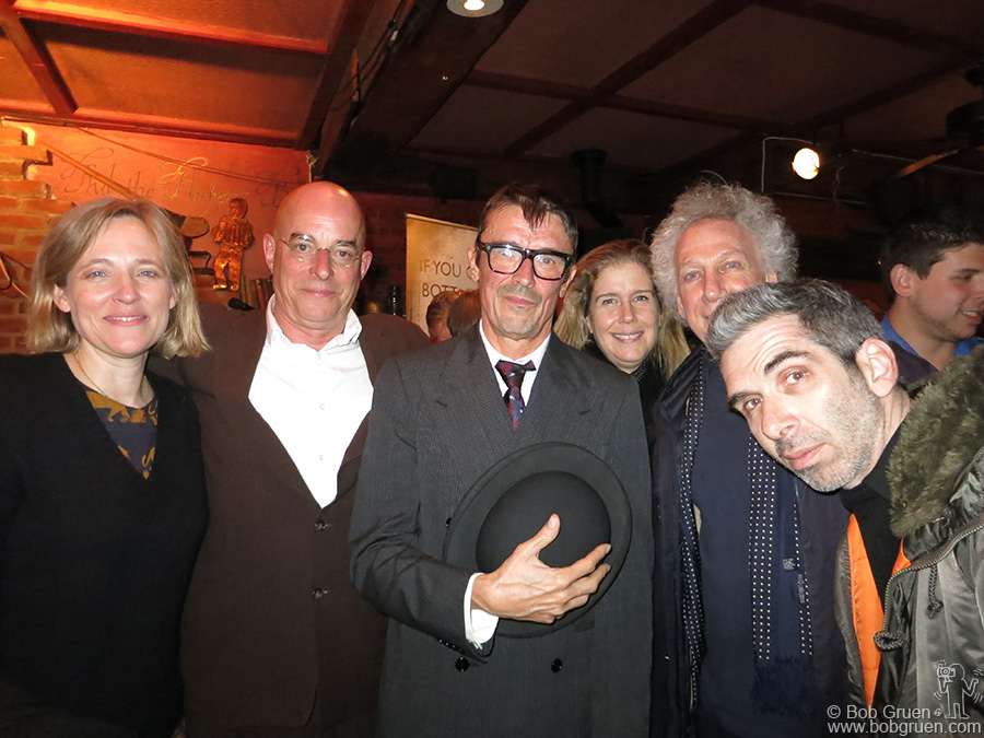 """March 1 – NYC – Danielle and James Fearnley and Spider Stacy of the Pogues, my wife Elizabeth & me and Josh Cheuse during the launch of """"Pogues Irish Whiskey"""" at Paddy Reilly's Music Bar."""