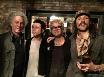 "April 23 - NYC - Bob Gruen, Nick Zinner of the Yeah Yeah Yeahs, Billie Joe Armstrong of Green Day and Eugene Hutz of Gogol Bordello at Berlin after the premiere of Billie Joe's film ""Geezer""."
