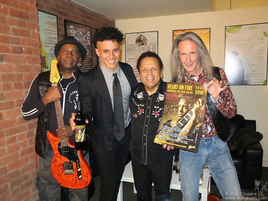 """May 4 – NYC – Nile Rogers, Austin Julian, Garland Jeffreys and Lenny Kaye backstage during """"Heart On Fire: Concert For Ivan Julian"""" at City Winery."""