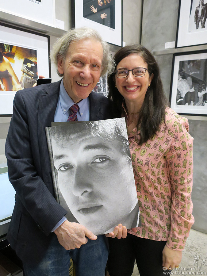 May 18 – NYC – Famed photographer Dan Kramer with his editor Nina Wiener at the release party for his new Taschen book of Bob Dylan photos.