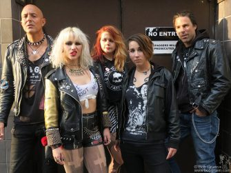 May 19 - NYC - Barb Wire Dolls posing before their show at the Studio At Webster Hall.