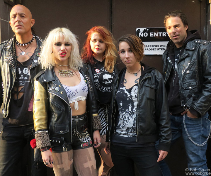 May 19 – NYC – Barb Wire Dolls taking a break before their show for the annual Joey Ramone Birthday Tribute concert at the Studio At Webster Hall.