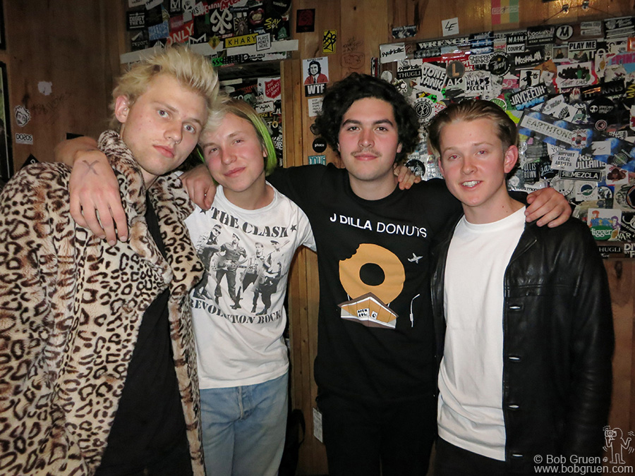 March 3 – NYC – SWMRS, Seb Mueller, Cole Becker, Joey Armstrong and Max Becker,  backstage at the Studio At Webster Hall before their sold out show.