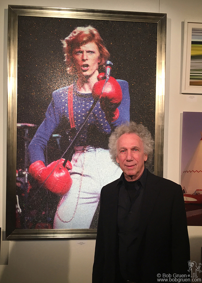 March 21 – NYC – Here's my original David Bowie photo enhanced with glass beads by  Maya Romanoff for the auction to benefit  DIFFA at the Dining By Design event at Pier 92.
