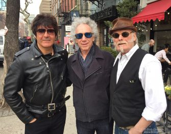 March 23 - NYC - Clem Burke of Blondie, Bob Gruen and Martin Chambers of the Pretenders posing on the streets of NYC.