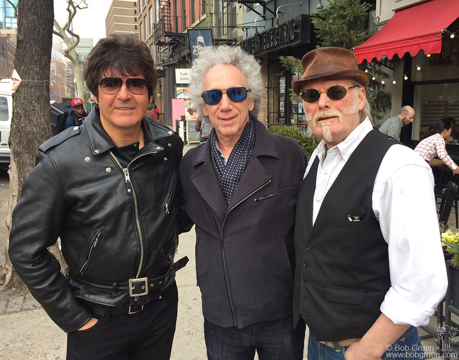 March 23 – NYC – Here I'm with two of the best rock drummers around, Clem Burke of Blondie, and Martin Chambers of the Pretenders during the filming of a documentary on the streets of NYC.