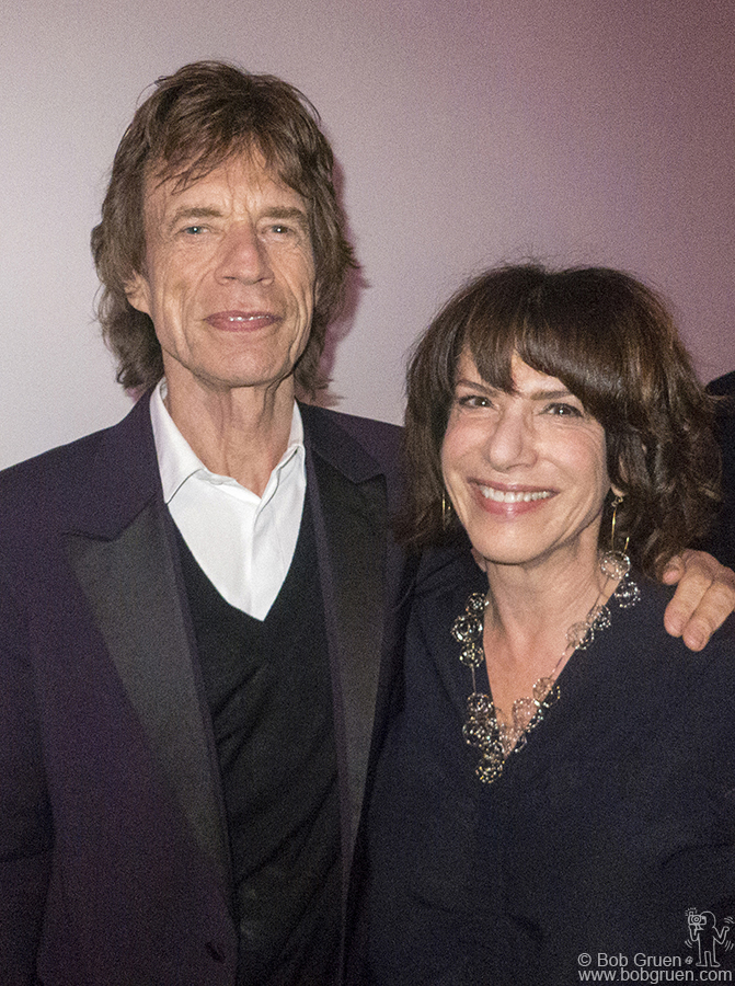 """April 4 – London – Mick Jagger and Ileen Gallagher, curator of  """"Exhibitionism: The Rolling Stones"""" at the opening at Saatchi Gallery."""
