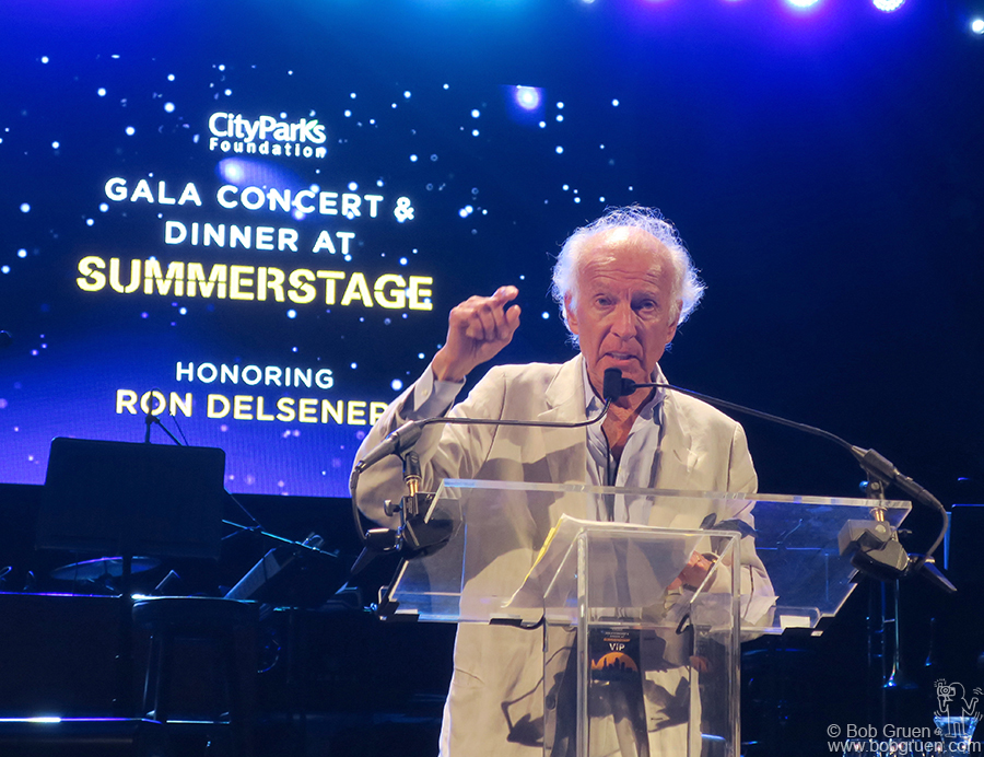 June 20 – NYC – Ron Delsener on stage in Central Park during the gala honoring him for his long career as the foremost promoter of music concerts on the East Coast.