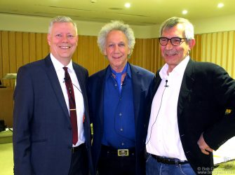 "July 5 - London - Brian Ward, Bob Gruen and John ""Boogie"" Tiberi before their ""Sex Pistols And America"" talk at the British Library in London, England."