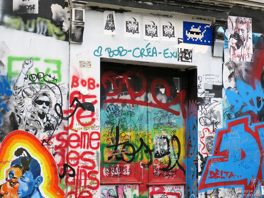 July 11 – Paris – Walking in Paris we stopped to see Serge Gainsbourg's house covered in graffiti by his fans.