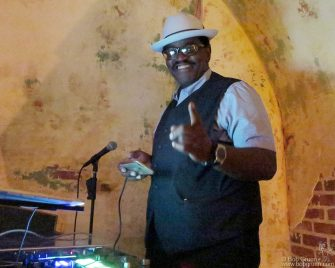 Sept 12 - NYC - Fab 5 Freddy DJing in the Django at the Roxy Hotel.