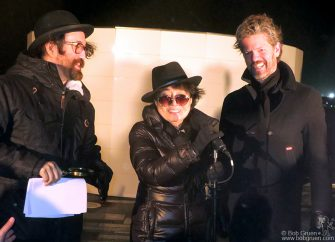 Oct 9 - Reykjavik - Sean Lennon, Yoko Ono and Dagur Bergþóruson Eggertsson during the Peace Tower lighting in Reykjavik, Iceland.