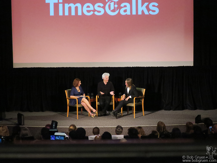 """Oct 27 – NYC – Melena Ryzik, Jim Jarmusch and Iggy Pop at a NY Times Talk for the """"Gimmie Danger"""" film."""