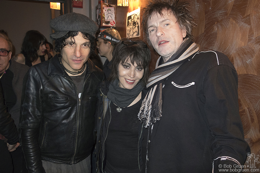 Dec 10 – NYC – Jesse Malin, Joan Jett and Tommy Stinson of the Replacements backstage after the Positive Panther benefit at Bowery Ballroom.