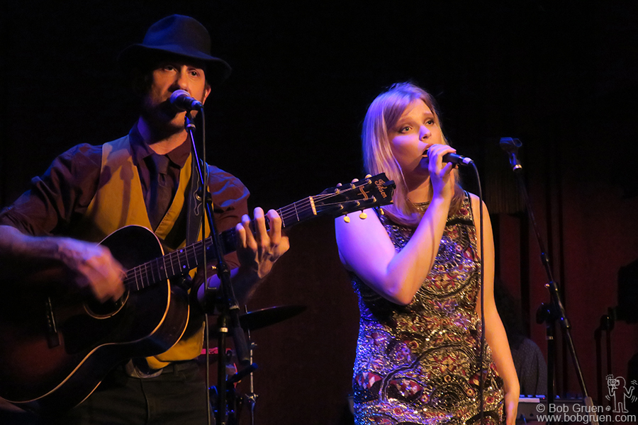 Dec 12 – NYC – My son Kris Gruen and Finnish singer Peppina on stage at the Slipper Room.