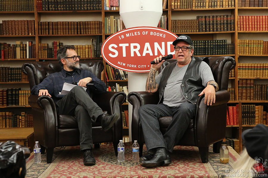 """Jan 17 – NYC – Michael Azerrad interviews Steve Jones of the Sex Pistols for a talk about Steve's biography """"Lonely Boy"""" at The Strand bookstore."""