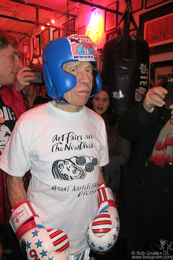 Feb 2 – NYC – Anthony Haden-Guest is ready to fight at his 80th birthday party at the Overthrow Boxing Club.