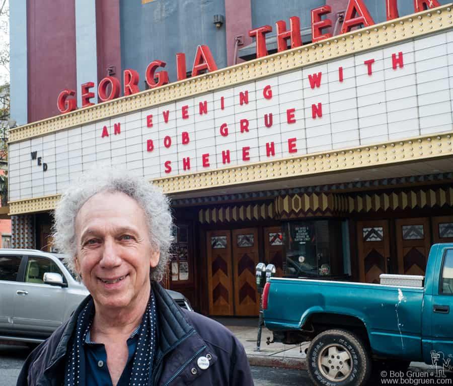 Feb 8 – Athens, GA – Bob Gruen in front of the Georgia Theater. Photo by Jason Thrasher.