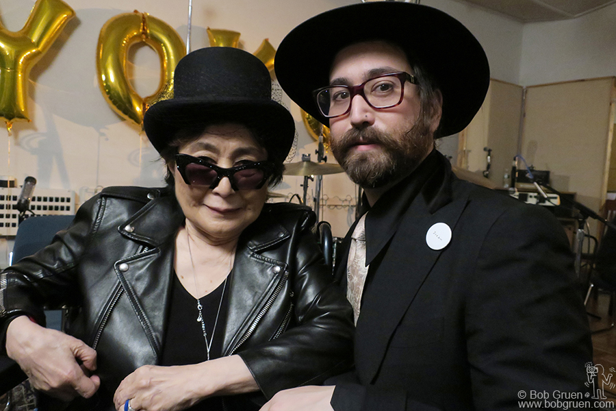 Feb 18 – NYC – Yoko Ono and Sean Lennon during Yoko's 84th birthday party.
